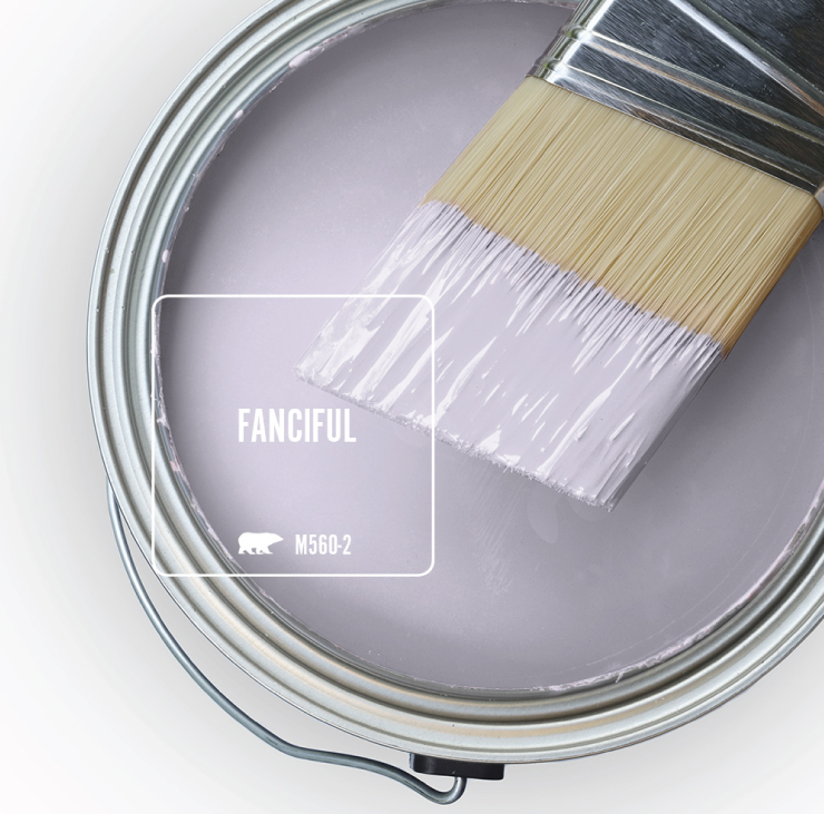 An open paint can and brush overview showing well paint tinted in light purple color called Fanciful.