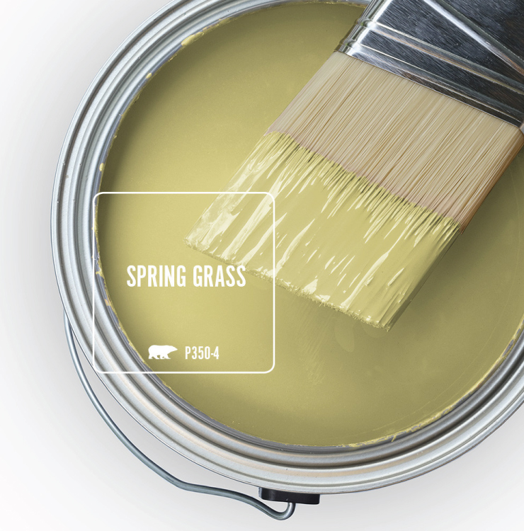 Paint Swatch - Open paint can with paint brush that was dipped showing paint color for Spring Grass