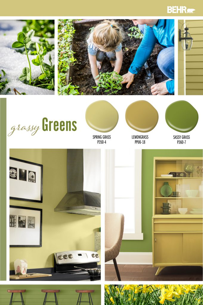Inspiration board featuring three green paint drops: Spring Grass, Lemongrass, Sassy Grass Images shown are the following: -Green clovers popping out of the snow-covered ground. -Mother and daughter planting in the garden. -Tight crop of a kitchen, showing stove area, wall is painted in Spring Grass. Corner section of a dining area showing the china cabinet. Cabinet is painted in Lemongrass. Wall is painted Sassy Grass.