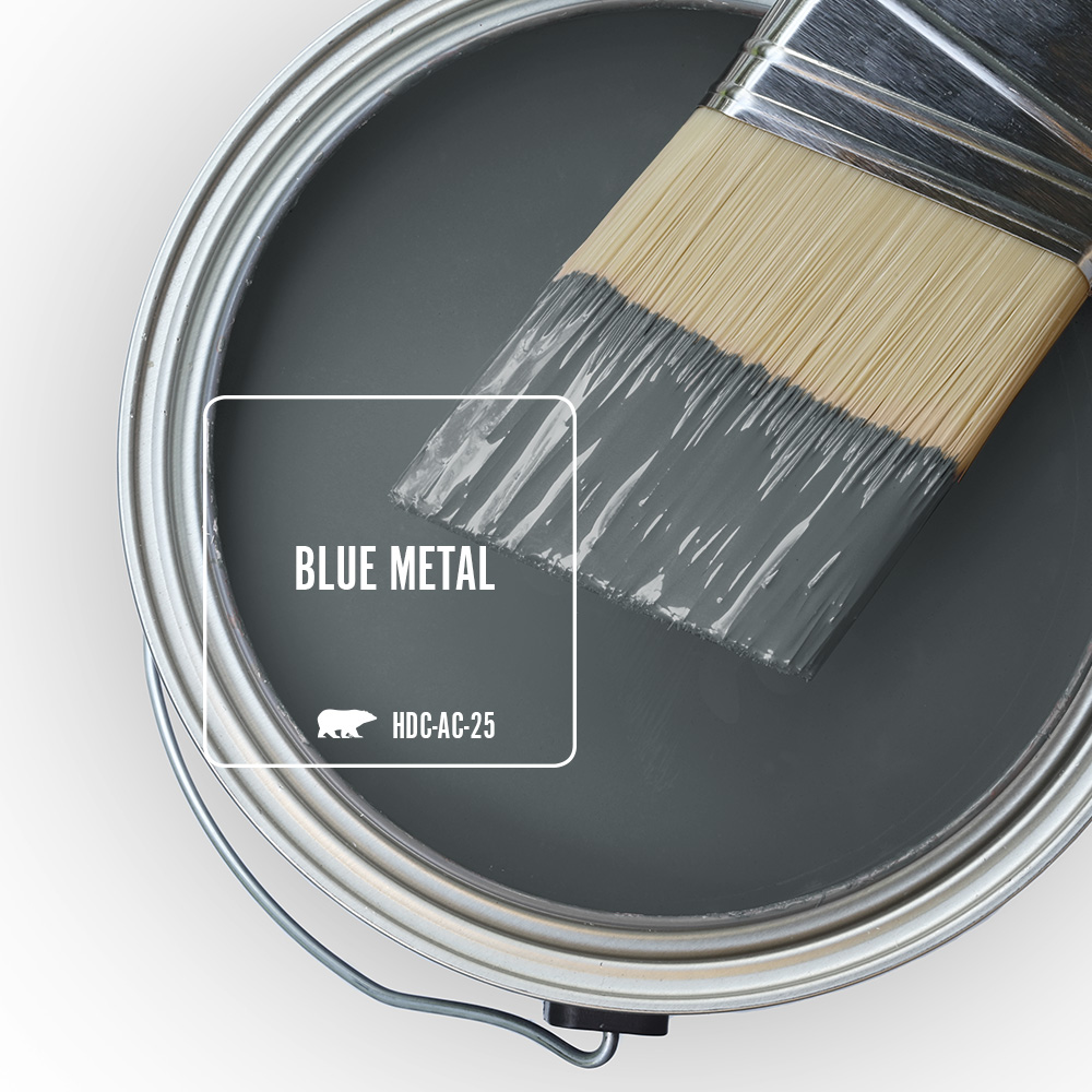 Paint Swatch - Open paint can with paint brush that was dipped showing paint color Blue Metal.