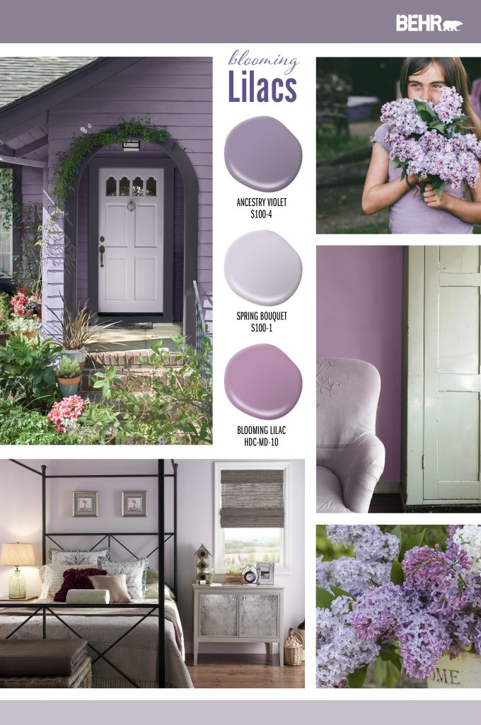 Inspiration Board featuring three purple paint drops: Ancestry Violet, Spring Bouquet, Blooming Lilac Images shown are the following: -A tight crop of a cottage style home with door, entryway and garden. Exterior is painted in Ancestry Violet. -Girl holding a bunch of lilac flowers. -A tight crop of a sitting area. Wall is painted in Blooming Lilac. -A bedroom with the walls painted in Spring Bouquet. -A vase full of lilacs.