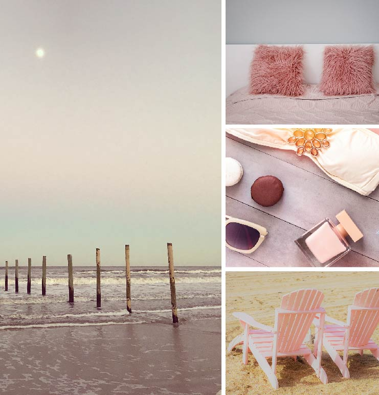 A collage of images of a light pink beach vista, a close up detail of a bed with pink bedding, pink accessories  such as sunglasses and headband and, two pink Adirondack chairs