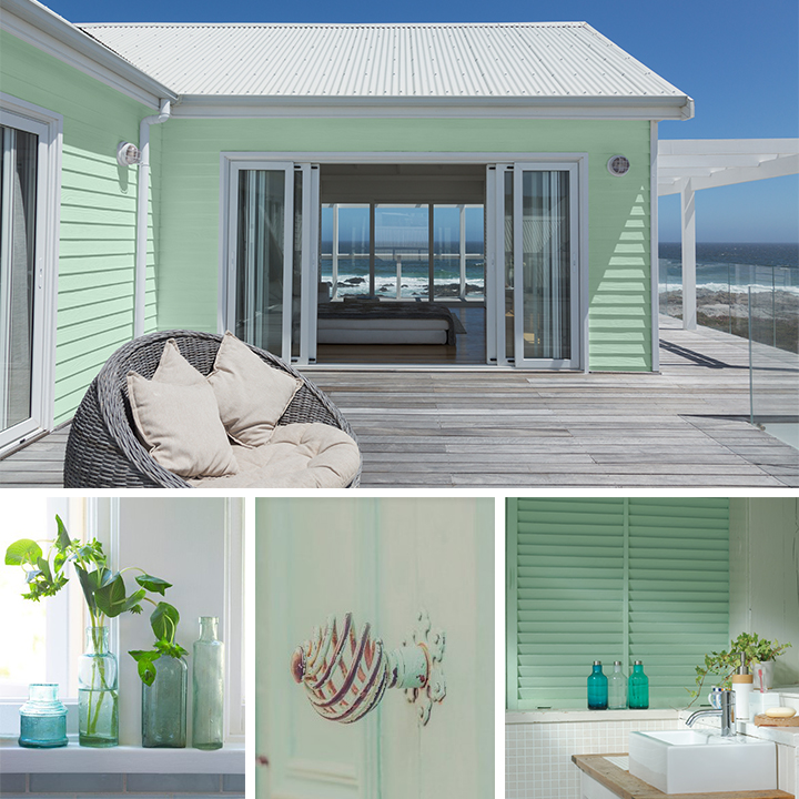A collage showcase of a mint color beach house with ocean view, light blue and green glass collection, a mint green antique door know and a coastal style small bath with white tile and sink.