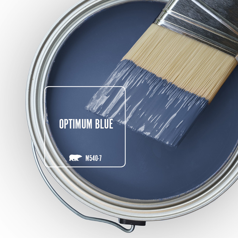 An open can overview showing wet paint in blue color called Optimum Blue.