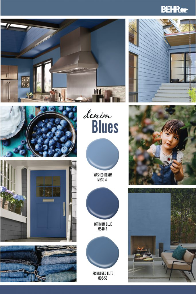 Inspiration Board featuring three blue paint drops: Washed Denim, Optimum Blue, Privileged Elite. Images shown are the following: -A tight crop of kitchen with walls painted in Privileged Elite. Ceiling painted in Optimum Blue. -An exterior entry painted in Washed Denim. -A bowl of blueberries. -A girl picking blueberries from a tree. -A gray colored exterior home. The door is painted in Optimum Blue. -A pile of stacked blue jeans. - Exterior backyard patio with a lit fireplace and a comfy couch. The fireplace wall is painted in Privileged Blue.