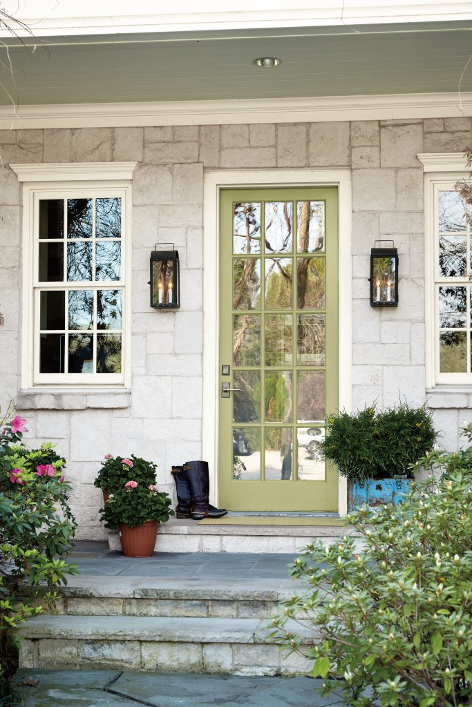 A exterior front door painted in Back to Nature.