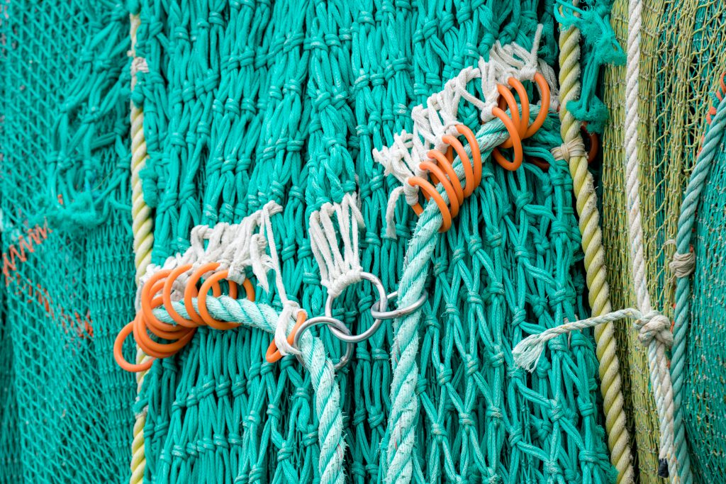 A close-up view of free fishing ropes.
