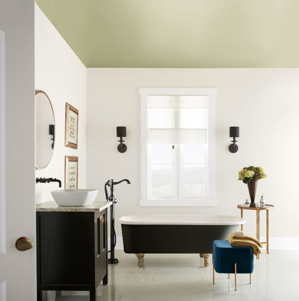 A bathroom with the ceiling painted in Back to Nature.