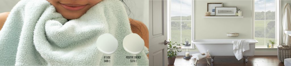 Paint colors drops shown: At Ease (mint-green), Positive Energy (yellow-green). Two paint drops placed on top of a picture of tight crop of a girls wrapped in a mint green towel. To the right of this image is bathroom with the walls painted in Positive Energy.
