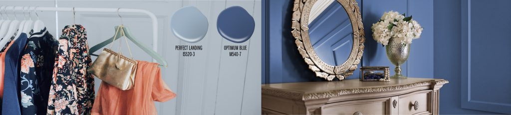 Paint colors drops shown: Perfect Landing (light blue), Optimum Blue (navy blue). Two paint drops placed on top of a picture of a closet with the wall painted in Perfect Landing. Clothing in the closet are colored in blues and oranges. To the right of this image is a tight crop showing a dresser against a wall painted in Optimum Blue.