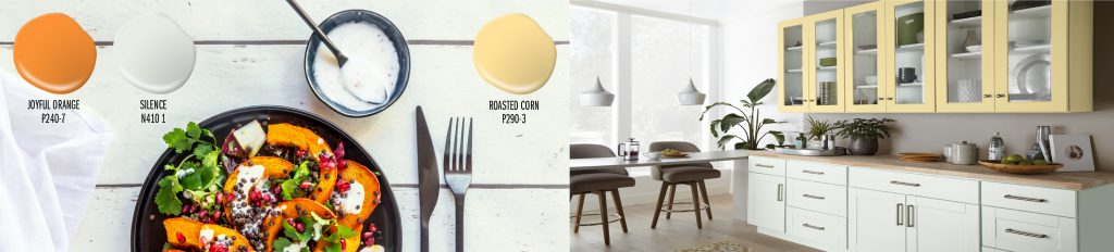 Paint colors drops shown: Joyful Orange (orange), Silence (white), Roasted Corn (yellow). Three paint drops placed on top of a picture of table painted in Silence. On the table is an autumn salad with squash, cranberries and lettuce. To the right of this image is a kitchen with the upper cabinets painted in Roasted Corn. The lower cabinets are painted in Silence.