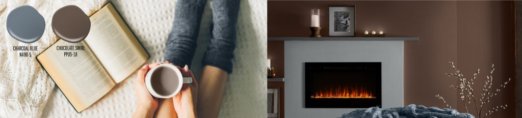 Paint colors drops shown: Charcoal Blue (grayed-blue), Chocolate Swirl (brown). Two paint drops placed on top of a picture of a girl sitting on a blanket with warm gray socks on her feet. She has an open book and holding a cup of hot chocolate. To the right of this image is a tight crop of a lit fireplace with candles lit on the mantel. The wall is painted in Chocolate Swirl.