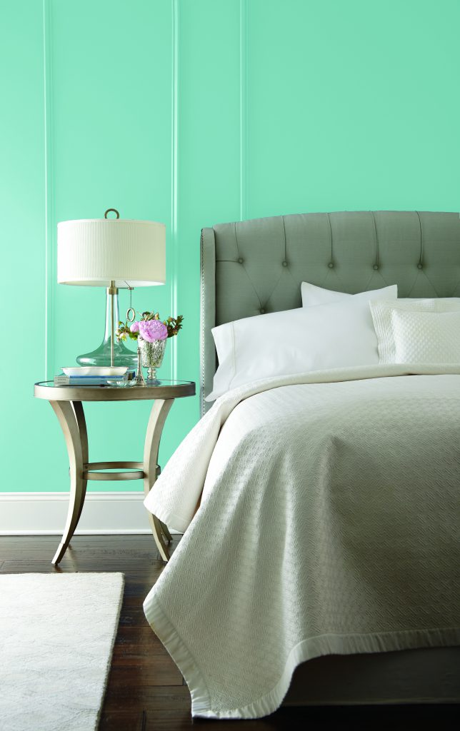 A bedroom painted in Mermaid Tears.
