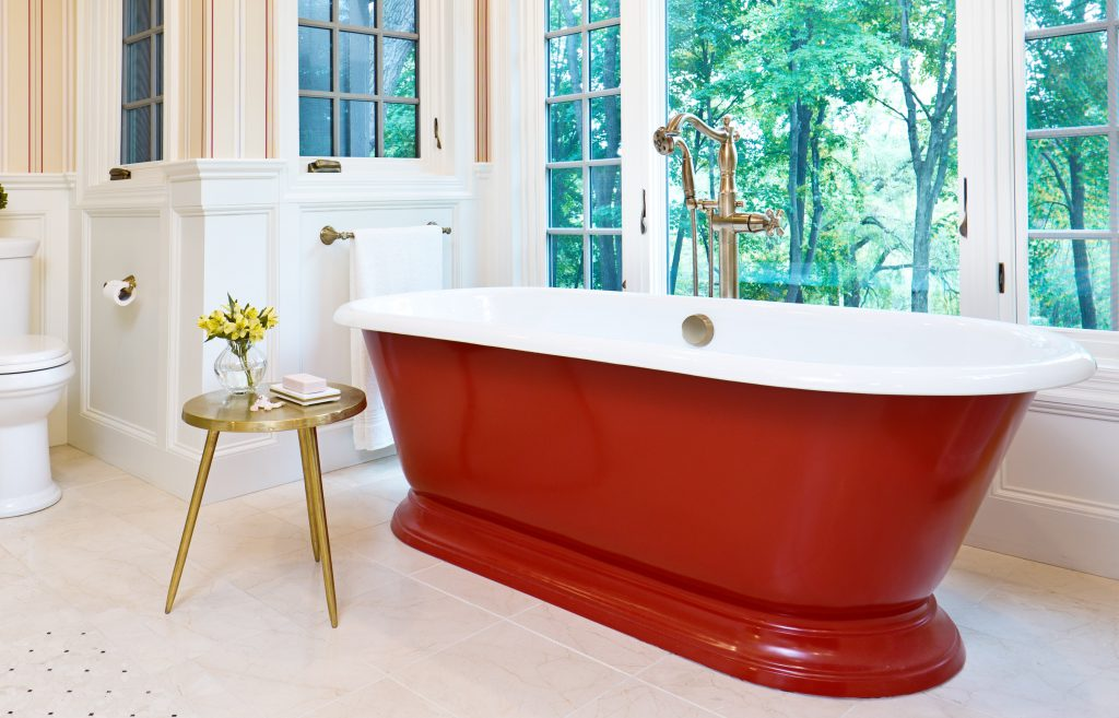 A a grand bathroom featuring beautiful standalone tub painted in a rich red color similar to Red Pepper.