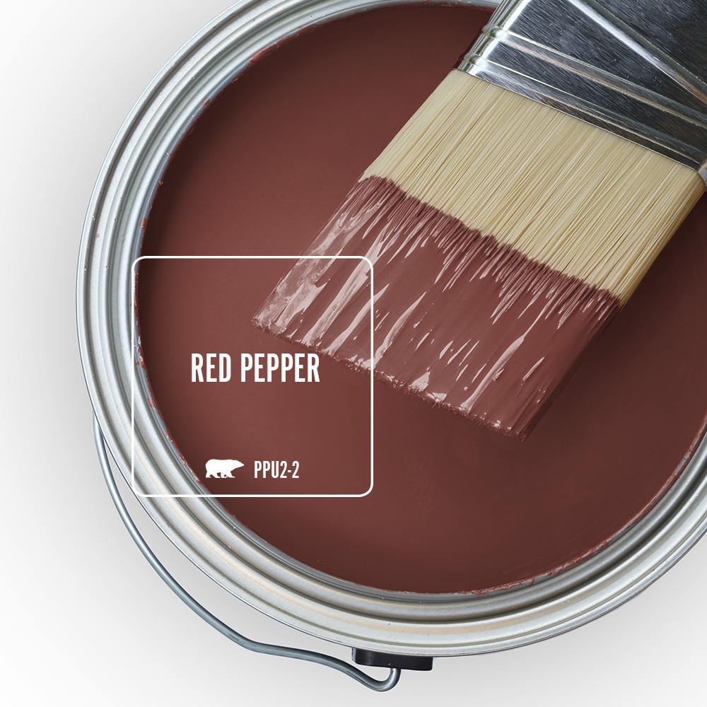 An open can overview featuring wet paint tinted in red color called Red Pepper.