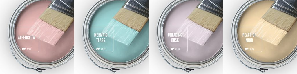 Paint Swatches - Open paint can with paint brush that was dipped showing paint colors for Alpenglow (pink hue), Mermaid Tears (blue hue), Unfading Dusk (purple hue), Peach of Mind (yellow hue).