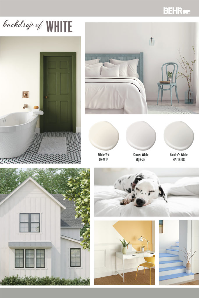 Inspiration Mood Board featuring three white paint drops: White Veil, Cameo White, painter's White Images shown are the following: -A bathroom painted in White Veil with the door in a green paint color. -A bedroom painted in Cameo White. Furniture is painted in a soft denim blue color -Exterior farmhouse style home. Painted in Painter's White with black trim. -A white dog with black spot sleeping on a bed. Bedding is all white. -A home office with wall painted in White Veil and color blocking on the wall in yellow. - A stairway with the walls painted in Painter's White. Top of steps are painted in a bright blue.