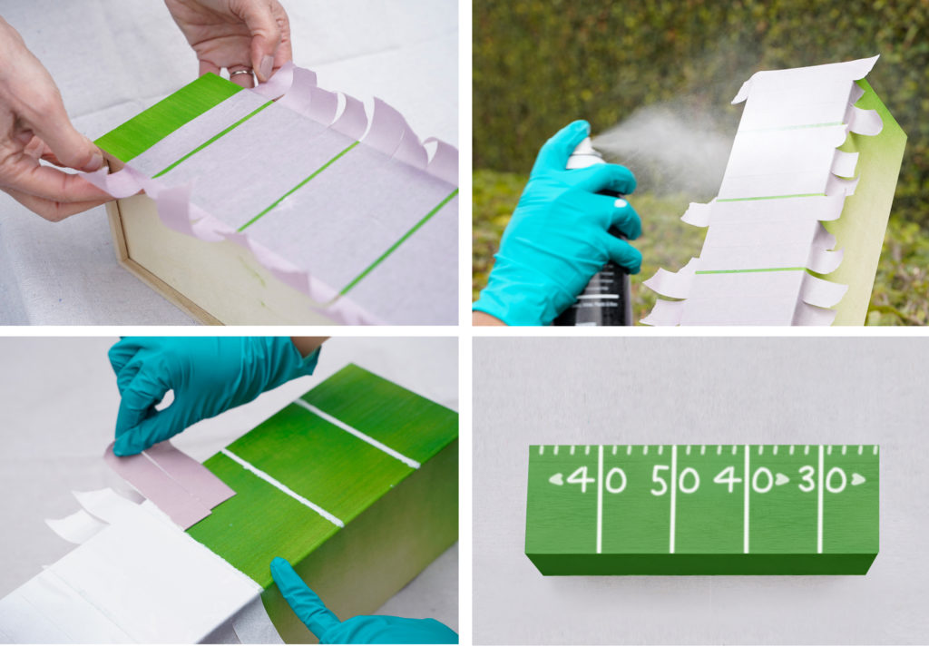 A collage of images showing next step in project for the box:  -Tape added to make stripes and person is spray painting white on the exposed green areas to resemble lines in a football field. -Person removing tape. -Complete box. Numbers and short lines have been added to resemble a football field.