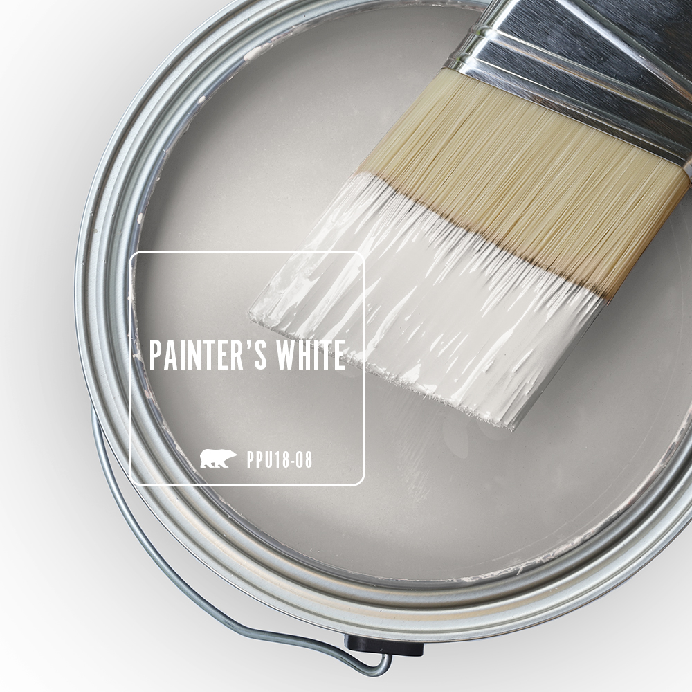 An open can overview featuring wet paint in white color called Painter's White
