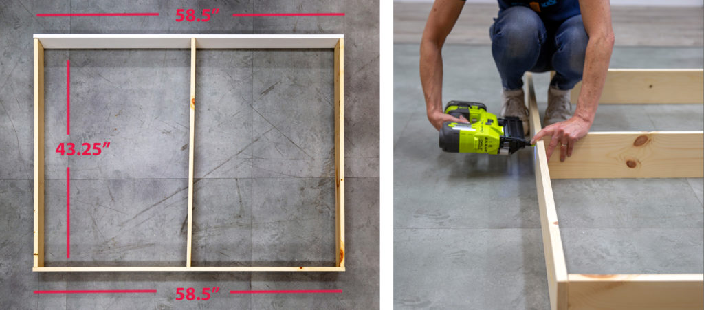 A visual of the frame in position on the ground. Then a visual of a person using a nail gun to attach the boards to make the frame.
