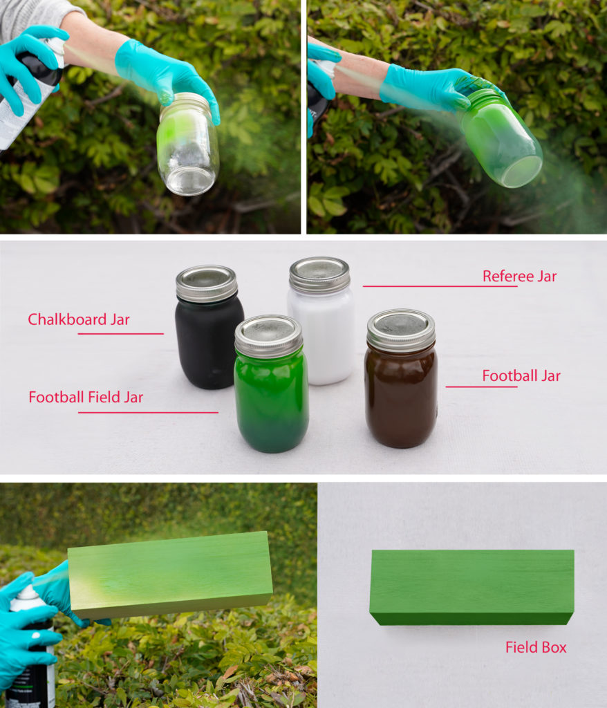 A collage of images showing first step in project:  -A person wearing gloves spray painting green on one of the mason jars.  -Mason jars with first step completed.  Black for chalkboard, green for football field, white for referee, brown for football. -A person wearing gloves spray painting the box green. -Box with first step completed.