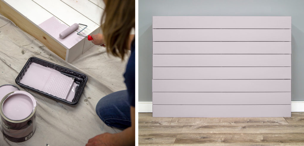 A person painting the headboard with Dusty Lilac paint. Then a picture of the headboard fully painted and leaning up against a wall.