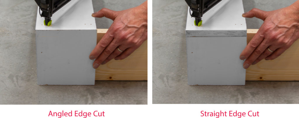 Showing the finished look using angled cut vs. straight cut. Angled cuts meet at the edge angle and is smooth.