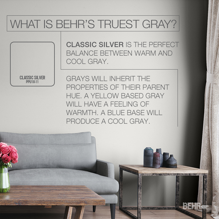 This image shows our most truest gray in Classic Silver. It is painted on a wall in a living room. There is half of a sofa showing, as well as a coffee table with a vase of flowers. To the right of the sofa is a side table with vases and a curtain peaking through from a window.
