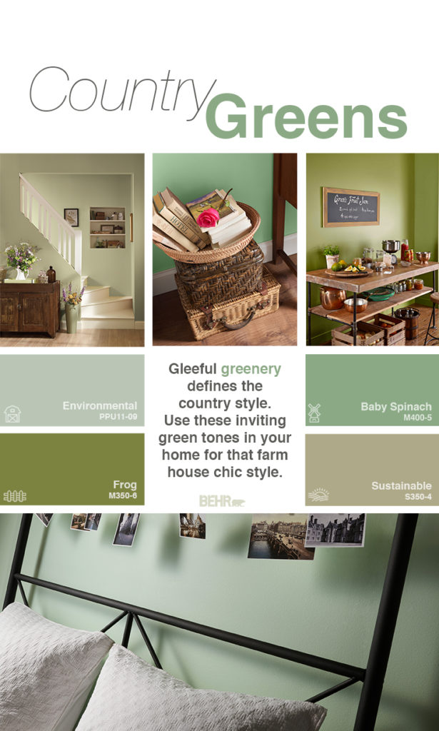 Inspiration mood board featuring four paint squares: Environmental, Baby Spinach, Frog, Sustainable.  - First image is a staircase painted in Sustainable. There is a wooden console decorated with vases and flowers in the.  - Next image is a close up of picnic baskets and an open basket with books. Wall is painted in Baby Spinach.  - Next image are walls painted in Frog.  There are crates with apples, spices, herbs, lemons, and bowls.  - Final image is a