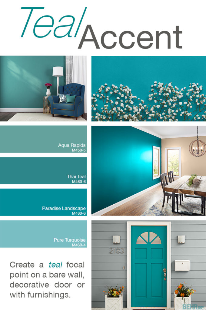 Inspiration mood board featuring four paint squares: Aqua Rapids, Thai Teal, Paradise Landscape, and Pure Turquoise.  Images shown are the following: - Seating area with an accent wall painted in Aqua Rapids. There is a small single person sofa with pillow, a small side table, a tall lamp and a window to the right of the chair.  - Next is a detail image of white flowers against a wall painted in Paradise Landscape.  - Following image is a dining room with an accent wall in Paradise Landscape. There is a wooden table and chairs. Hanging from the ceiling is a chandelier.  - Final image is an exterior door painted in Thai Teal. There are planters on both sides of the door, a mailbox on the house siding, and outdoor lights on the siding as well.