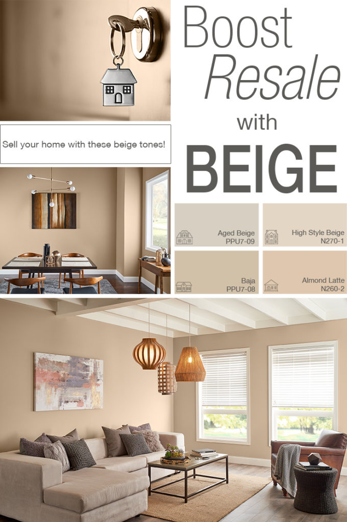Inspiration mood board featuring four paint squares: Aged Beige, High Style Beige, Baja, and Almond Latte. Images shown are the following: - Detail image of a house key being inserted into a lock to open a home.  - Dining room painted in Baja. Mid century modern dining table and furniture, a window to the right of the table, as well as a small wooden console with vases. There is a chandelier hanging from the ceiling and a work of art on the wall. - Final image is a living room painted in High Style Beige. There is a L shape sofa, coffee table, single person sofa chair, and a woven side table.  Decor includes pillows, blanket, books, an succulents. There are hanging woven lamps coming down from the ceiling. Also a piece of art on canvas behind the sofa.