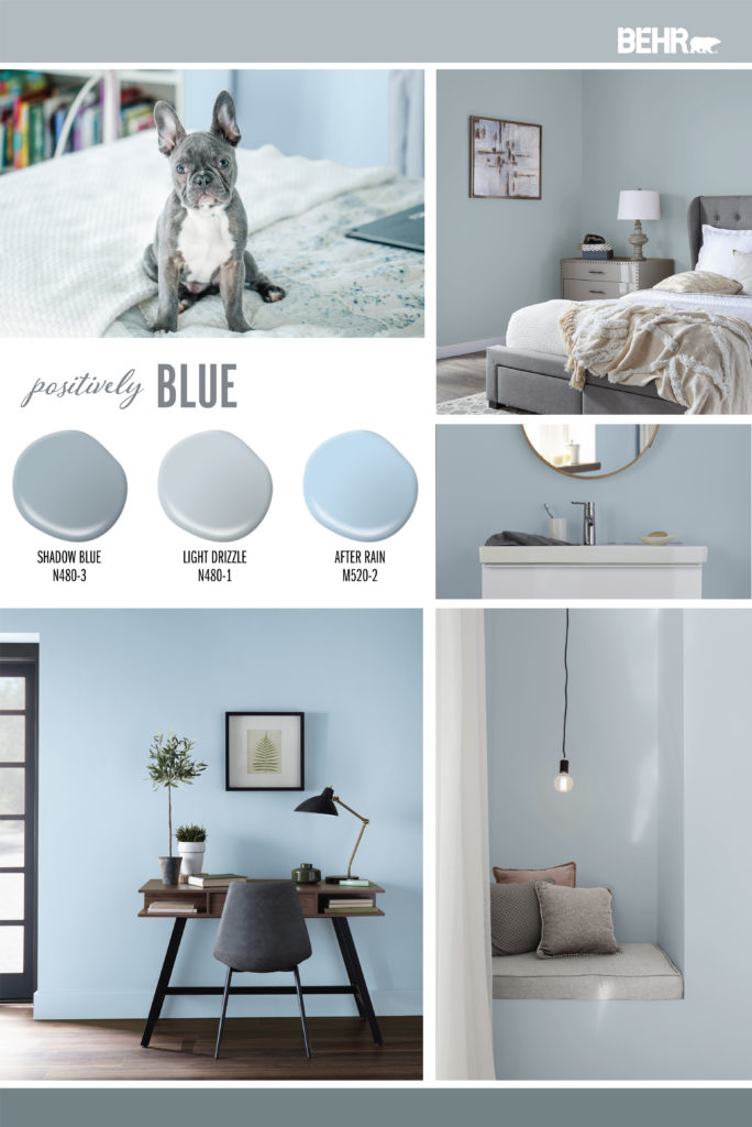 Inspiration Mood Board featuring three blue paint drops: Shadow Blue, Light Drizzle, After Rain. Images shown are the following: -A dog sitting on a teen's bed. -An adult bedroom with the walls painted in Light Drizzle. -A tight crop of a bathroom's sink and mirror with the wall painted in Shadow Blue. -An office desk and chair against a wall painted in After Rain. -A small hideaway sitting area with the walls painted in Light Drizzle.