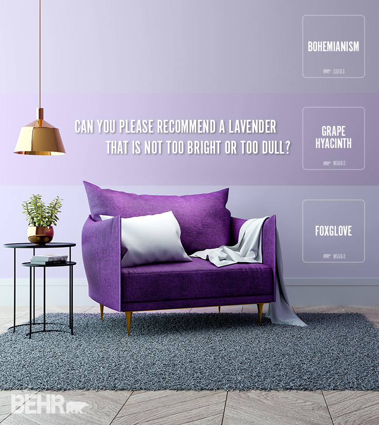This image is a seating area with a deep purple sofa. There is a hanging lamp to the left of the sofa as well as two end tables with books and a plant.  The wall is painted in three different shades of purple to show the difference.  Bohemianism, Grape Hyacinth and Foxglove.