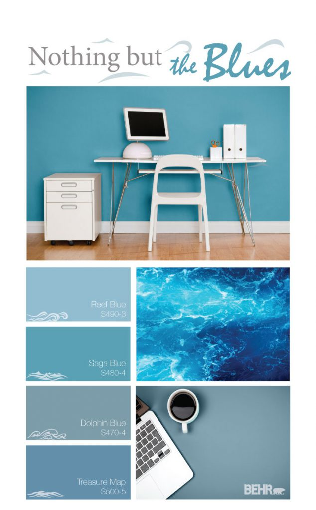 Inspiration mood board featuring four paint squares: Reef Blue, Saga Blue, Dolphin Blue, and Treasure Map.  Images shown are the following: - A office painted in Saga Blue. There is a white desk, chair and filing cabinet. There is a computer on the desk with a keyboard, pencil holder and two books.  -  Next image is a detail image of ocean water.  - Final image is a top down of a office desk painted in Dolphin Blue. Peaking through the image is a laptop and a cup of coffee.