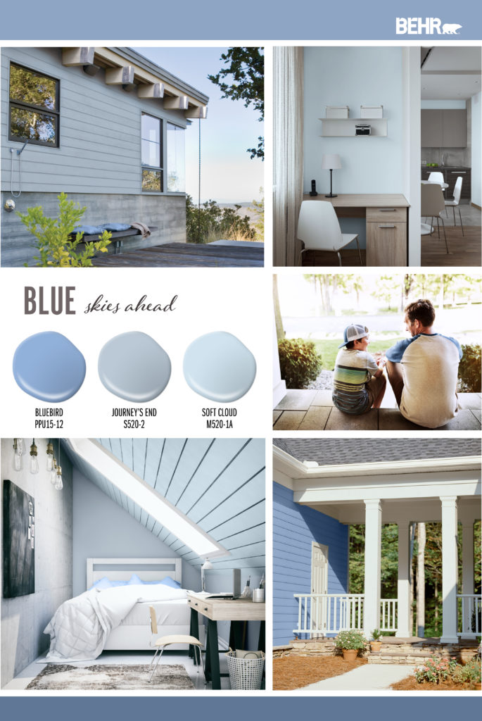 An inspiration board featuring blue hues. Paint drops shown: Bluebird PPU15-12, Journey's End S520-2, Soft Cloud M520-1A. Images shown are as follows: A side of a homes' deck with a small bench and blue pillows with the exterior painted in a dusty blue color. A home office with a wood desk, white chairs, wall is painted in a light blue color. A bedroom with paneling ceiling painted in blue. There is a small desk in the room and pillow on the bed are bright blue. An exterior side of home with a porch coming off of it. The side of the home is painted in a bright blue.