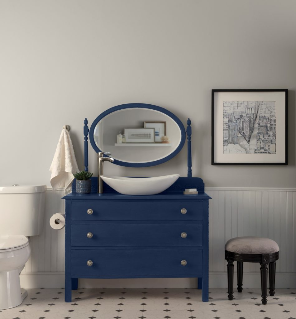 Do It Yourself Timeless Blue Vanity Dresser Colorfully Behr