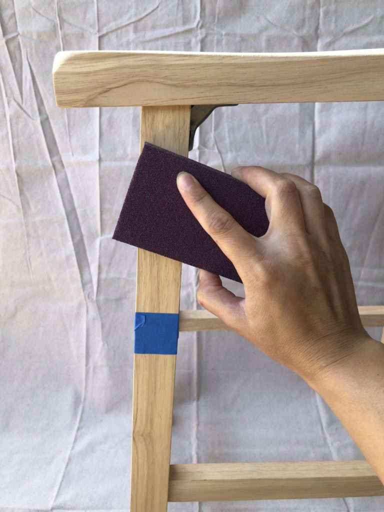 This image shows how I gave the stools a light sanding.