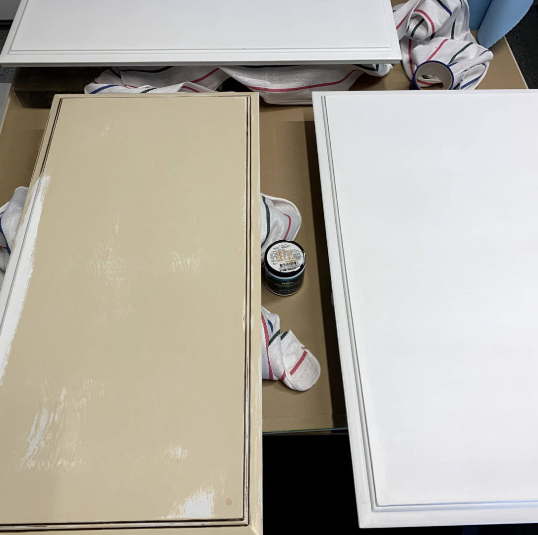 image showing cabinets prepped and primed.