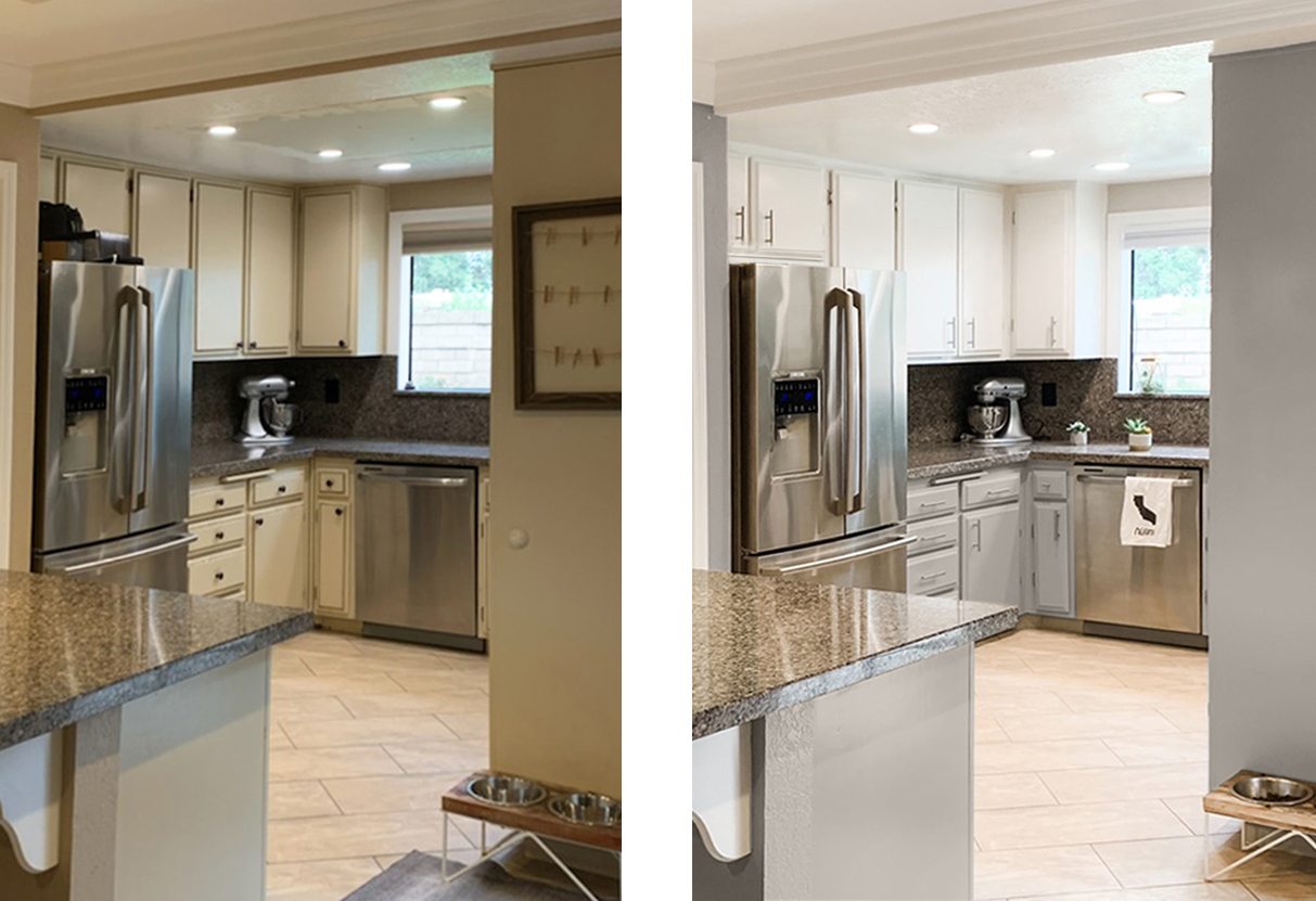 a before and after of a kitchen. First picture show the cabinets painted in gray on the bottom and white. The picture beside it is the original kitchen with yellowish painted cabinets.