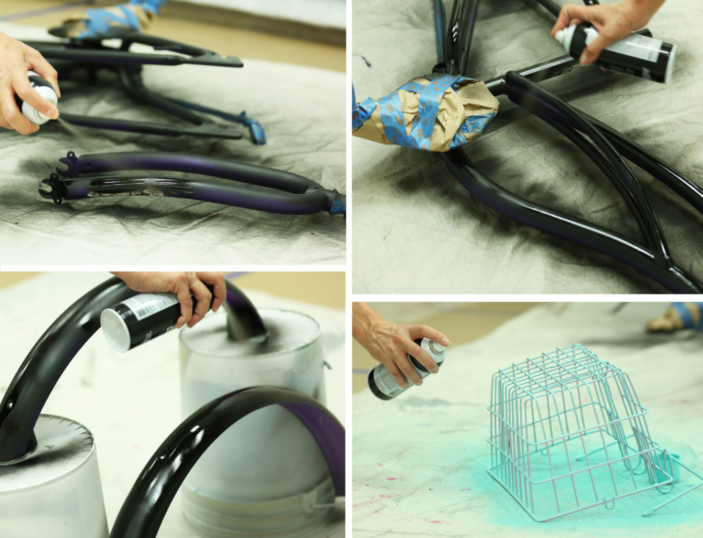 Four images showing a person spray painting different pieces of the bike frame.