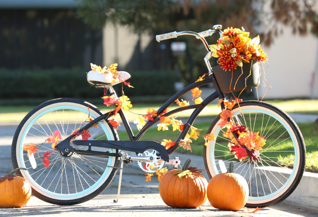 A bicycle decorated for the fall with colorful leaves and pumpkins.