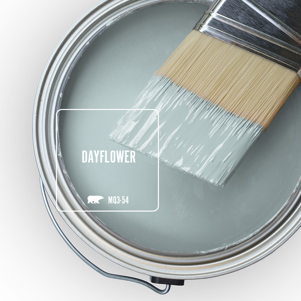 The top view of an open paint can with wet paint and a half-dipped paint brush, the color of the paint is called Dayflower.