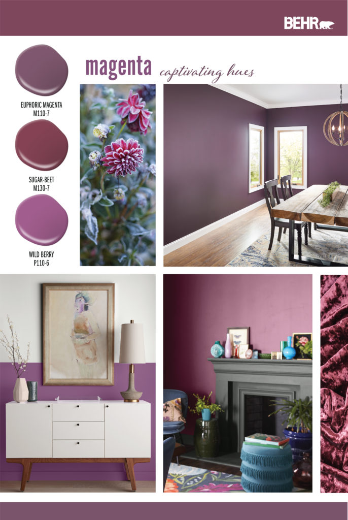 Inspiration board showing magenta hues. Paint drops featured are the following: Euphoric Magenta, Sugar Beet, Wild Berry.  Images are of the following: Greenery with magenta colored flowers. Dining Room with wood table and floors, walls are painted in a purplish-magenta color. Living area with a charcoal painted fireplace and walls painted in a reddish-magenta color. Hallway with lower walls painted in a pinkish-magenta color, upper walls are white. A white console table sits in front of the wall.