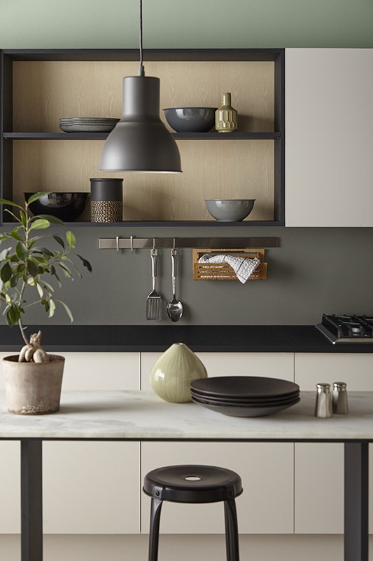A Modern Japanese style kitchen, the  back wall is painted in three colors, the color combination is very neutral and harmonious.