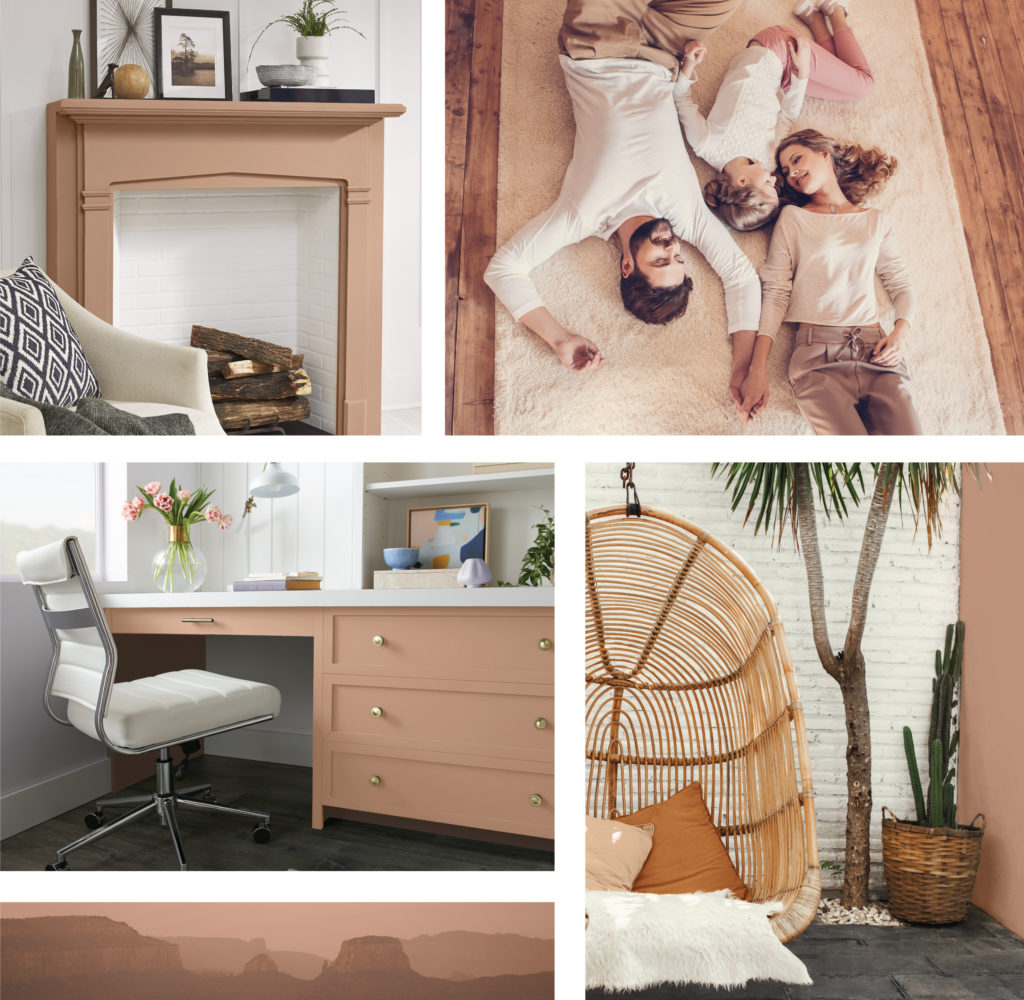 A lifestyle collage featuring a young family in a warm neutral background setting.  There is top left image featuring a fireplace mantle painted in Canyon Dusk.  A bottom left image featuring a home office with a work desk painted in Canyon Dusk.  The image on the bottom right features a small outdoor patio with a rattan swing, some pillows and a plants, the accent wall featured on the images is painted in Canyon Dusk.