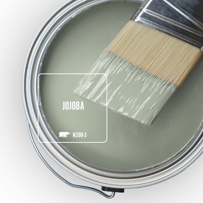 The top view of an open paint can and a half dipped paint brush, the color featured on the can is called  Jojoba.