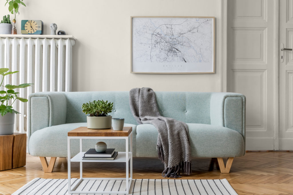Modern Scandinavian living room interior. Home décor. Interior design. Template. Ready to use.
