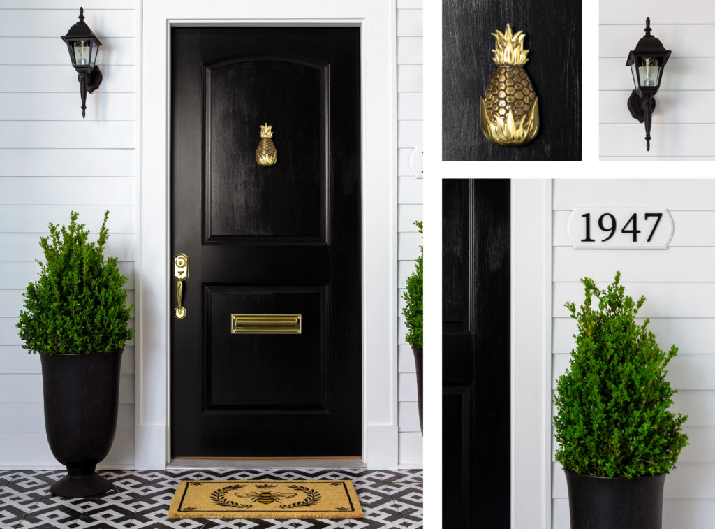 A collage of images showing a home with a black door, pineapple knocker, farmhouse light and plants.
