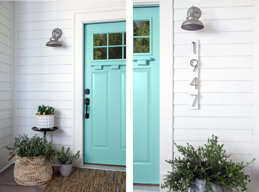 two images of a home with a nlue door. One is shoing all of the door, the other shows a closeup of the door, light and house numbers.