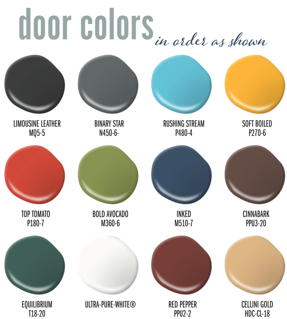 a palette showing the 12 different door colors used in this article.